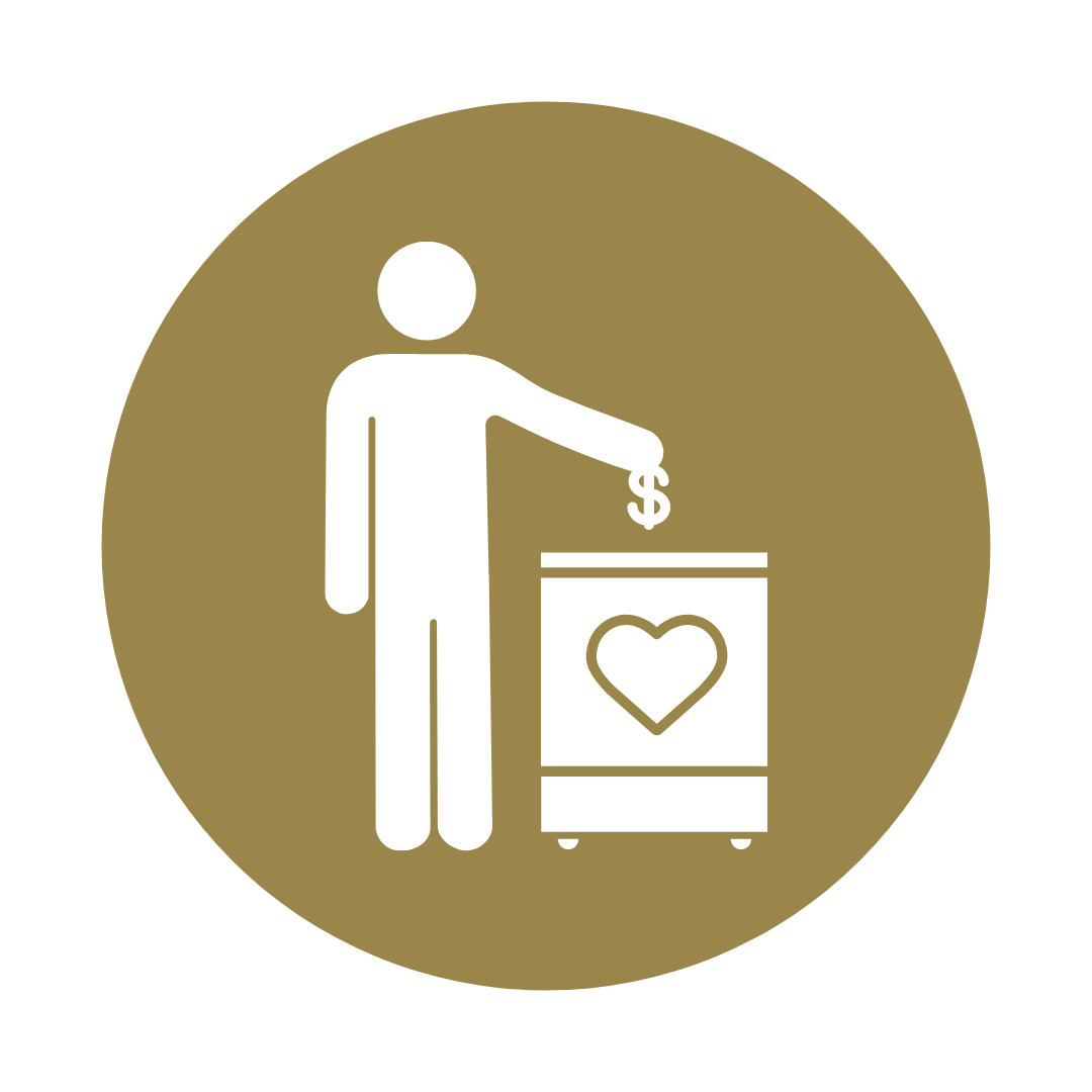 a person putting donations ($) into a box